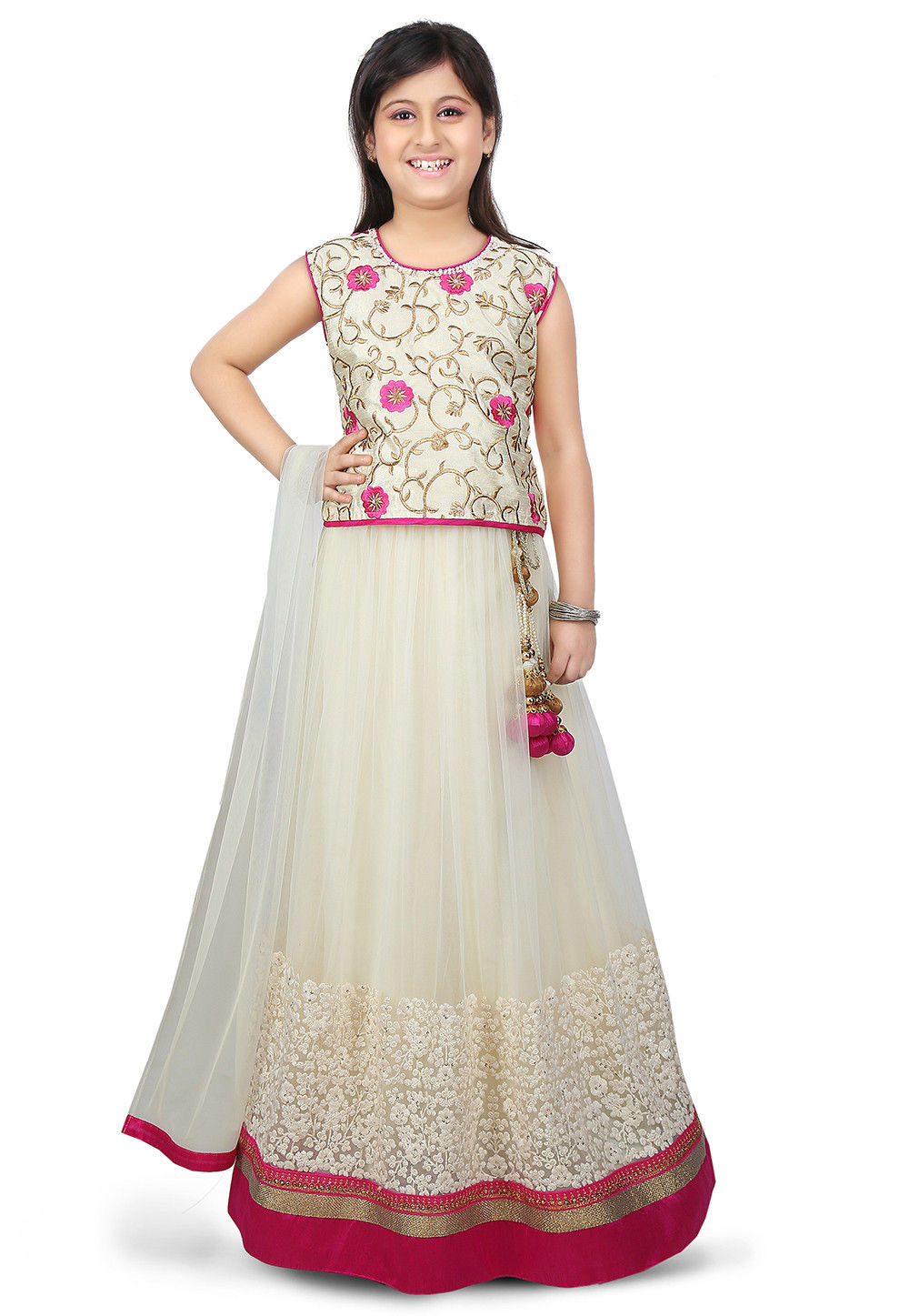 Embroidered Net Lehenga in Cream