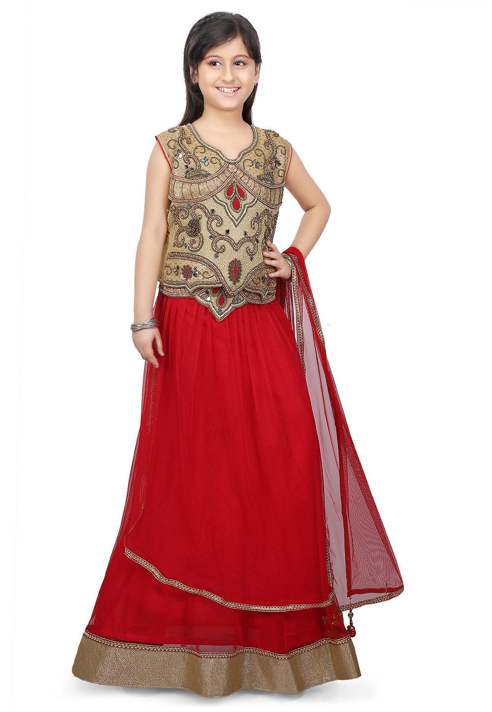 Contrast Border Net Lehenga in Red