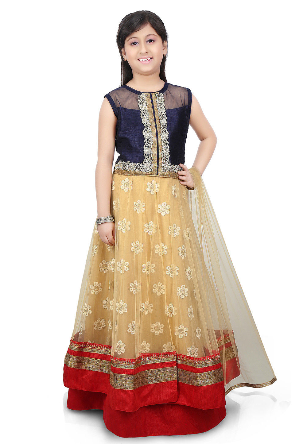Contrast Patch Border Net Circular Lehenga in Beige