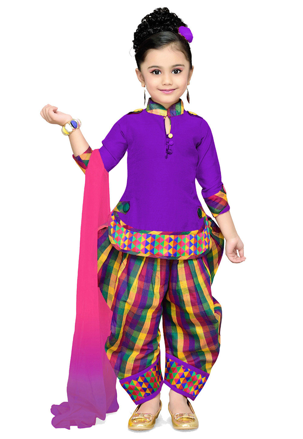 Plain Cotton Silk Punjabi Suit in Purple : UBX51