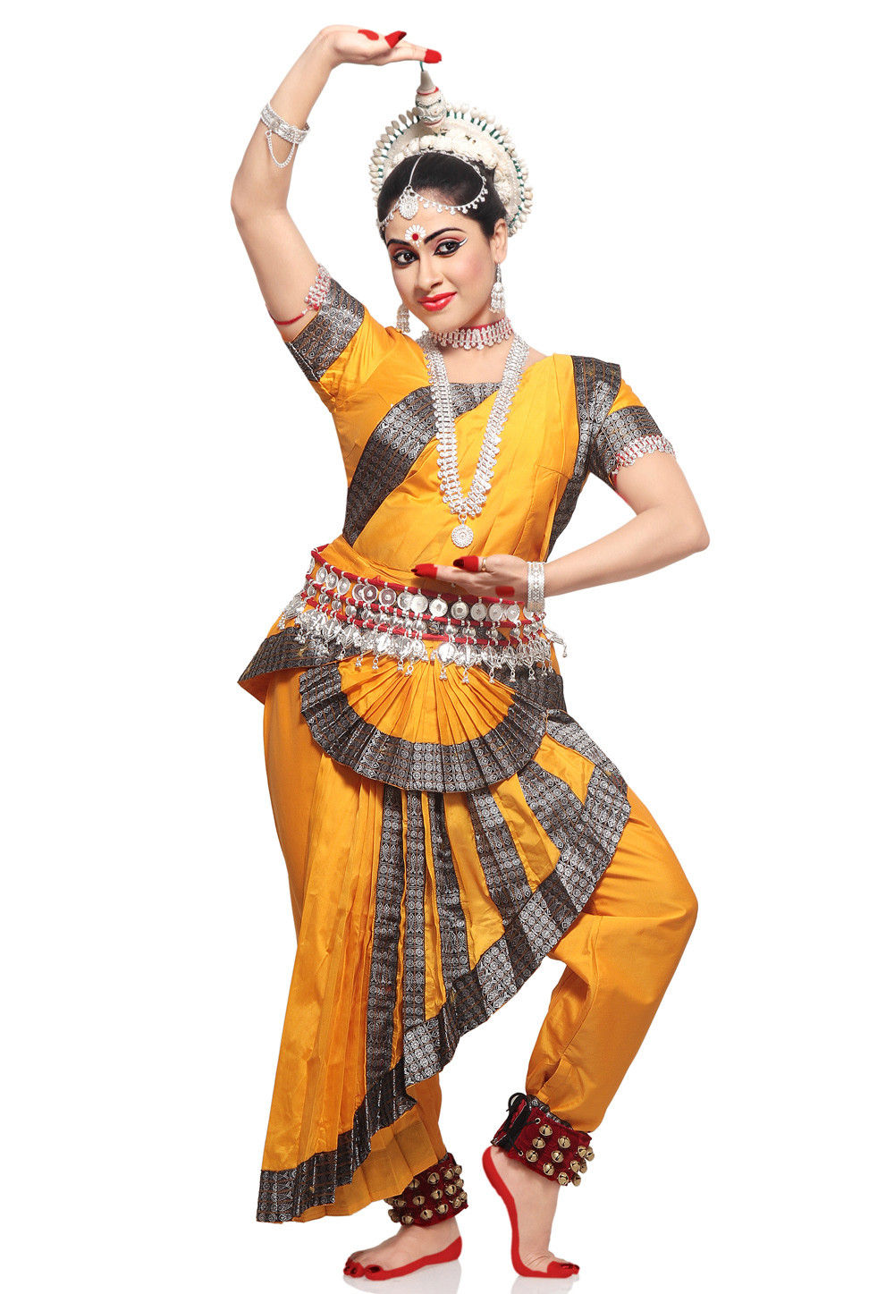 Art Silk Readymade Dance Costume in Mustard