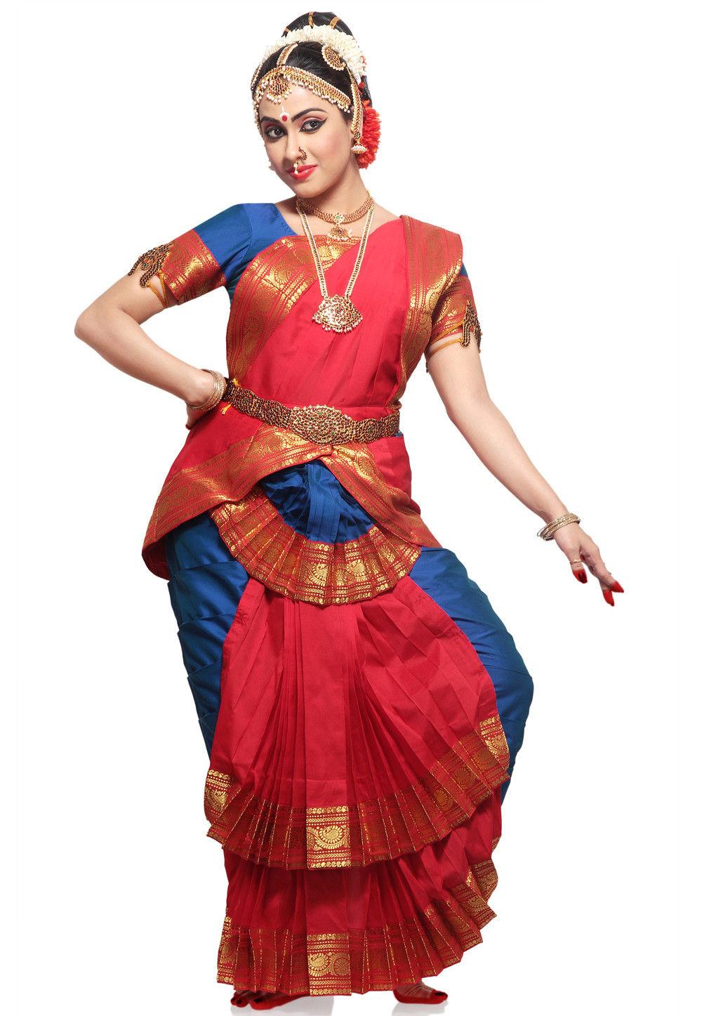 Art Silk Readymade Dance Costume in Red