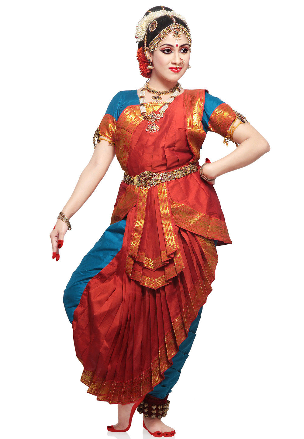 Art Silk Kuchipudi Dance Costume in Red and Blue