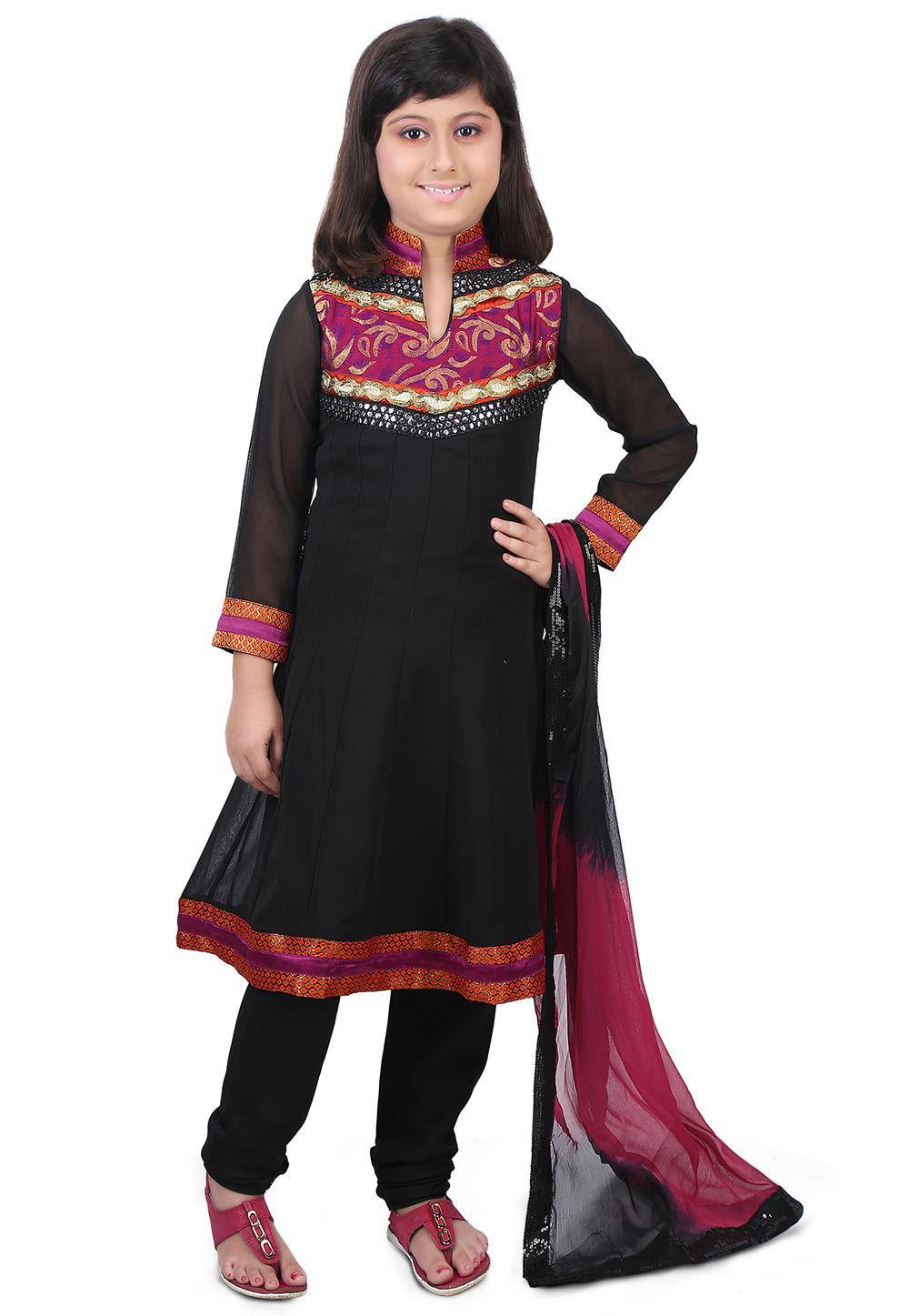 Embroidered Georgette Anarkali Suit in Black