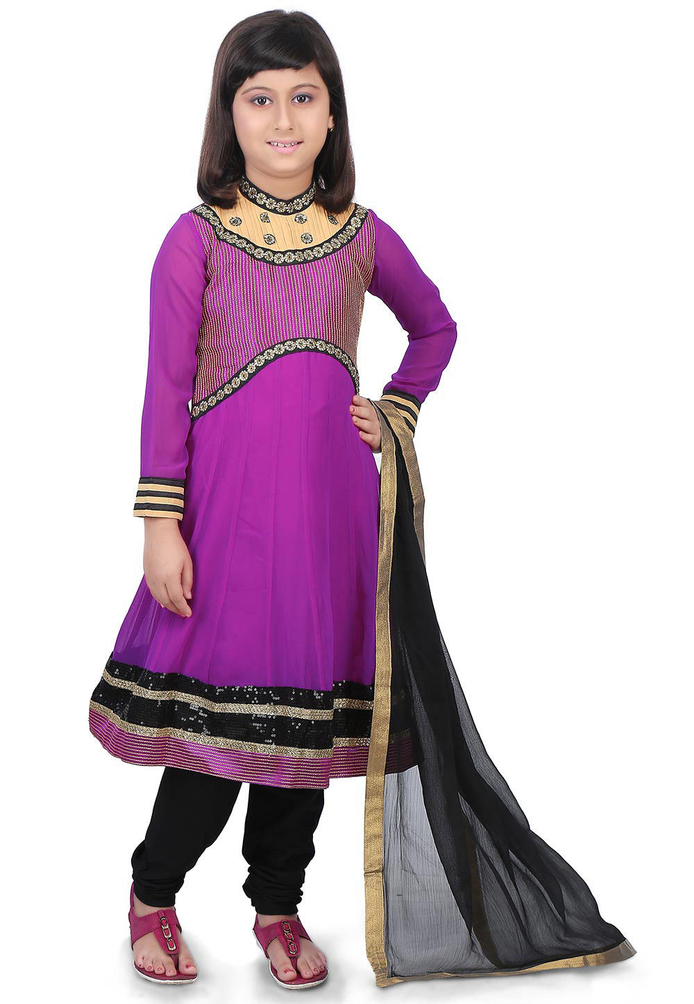 Embroidered Georgette and Art Silk Anarkali Suit in Purple