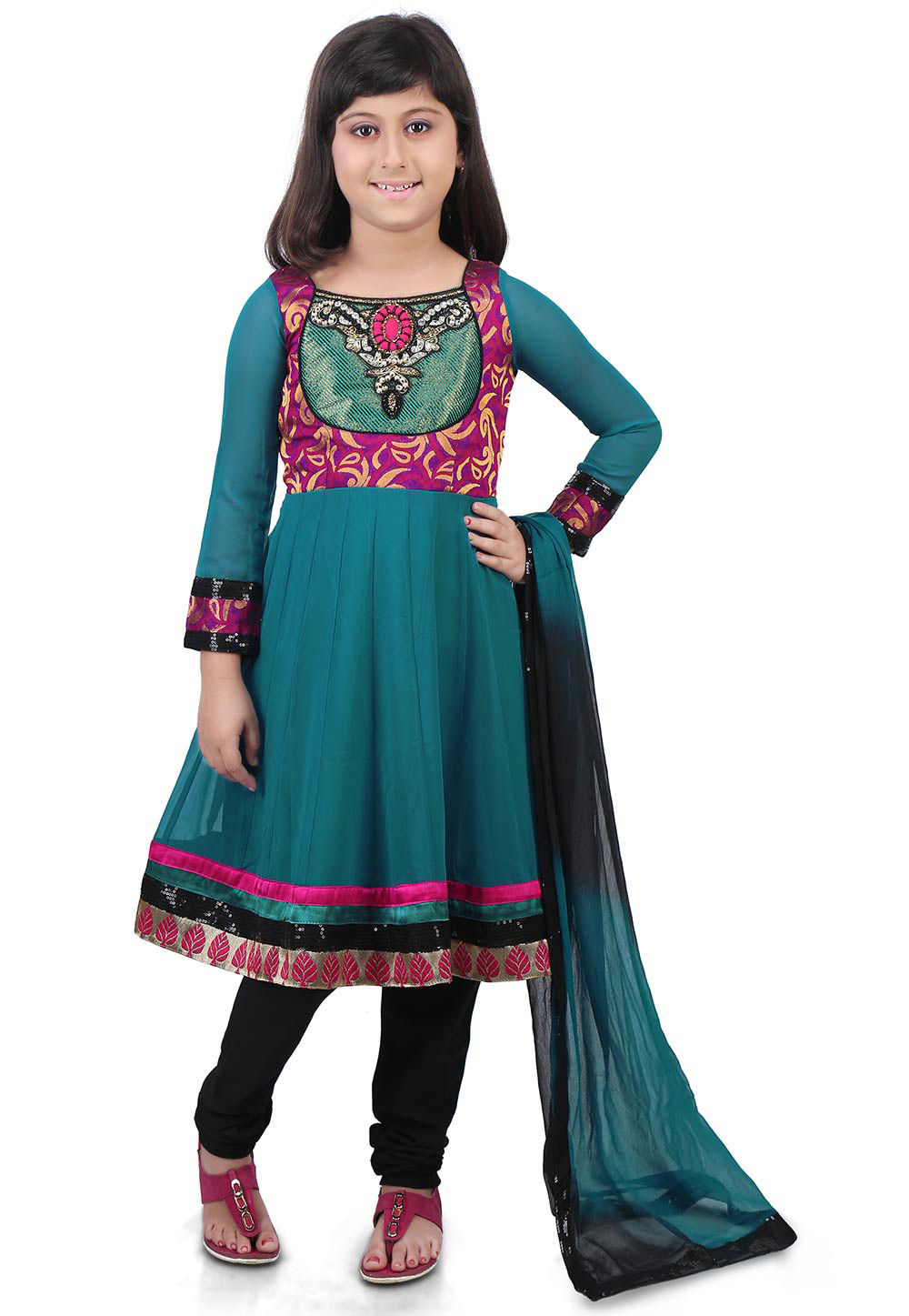 Embroidered Georgette Anarkali Suit in Teal Blue