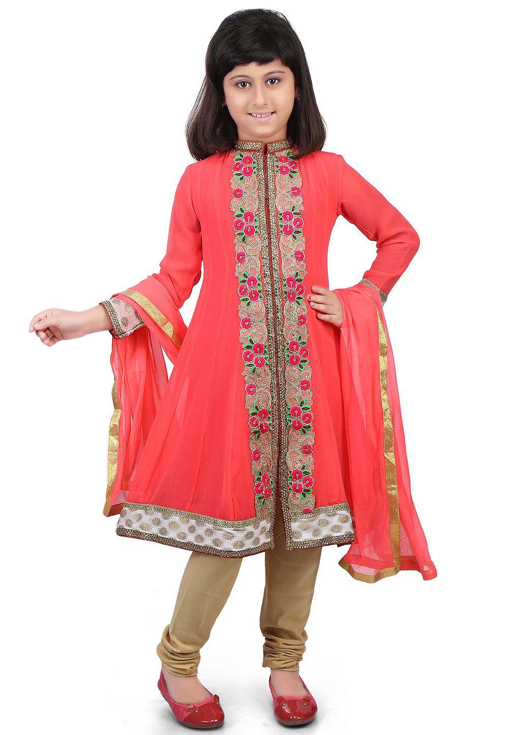 Embroidered Georgette Anarkali Suit in Coral