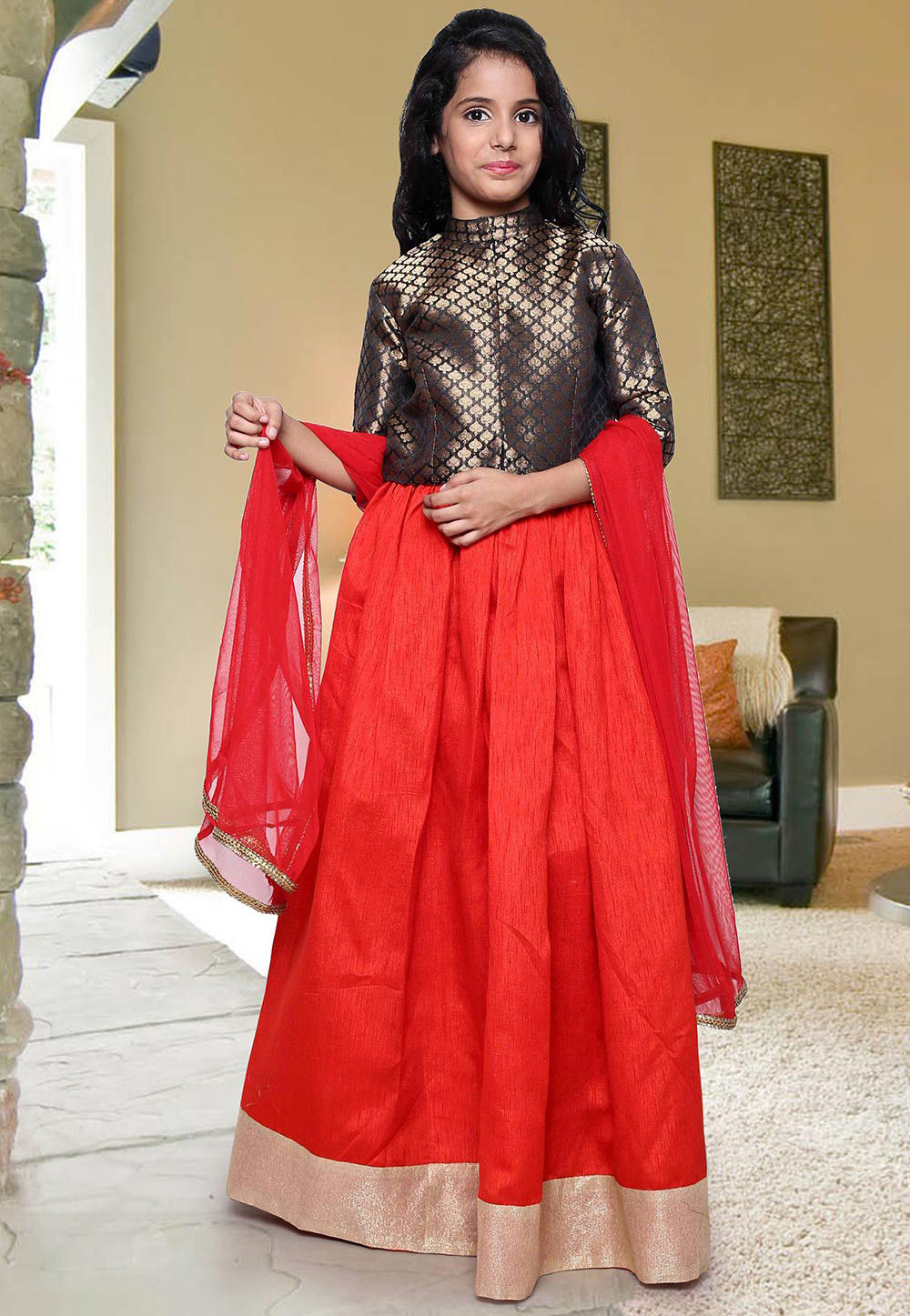 Plain Art dupion Silk Circular Lehenga in Red