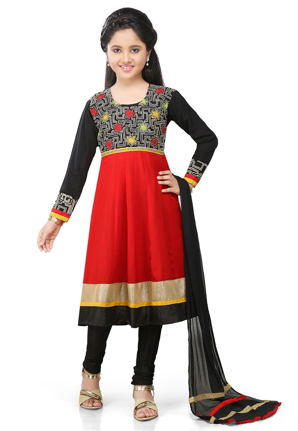 Embroidered Georgette Anarkali Suit in Red