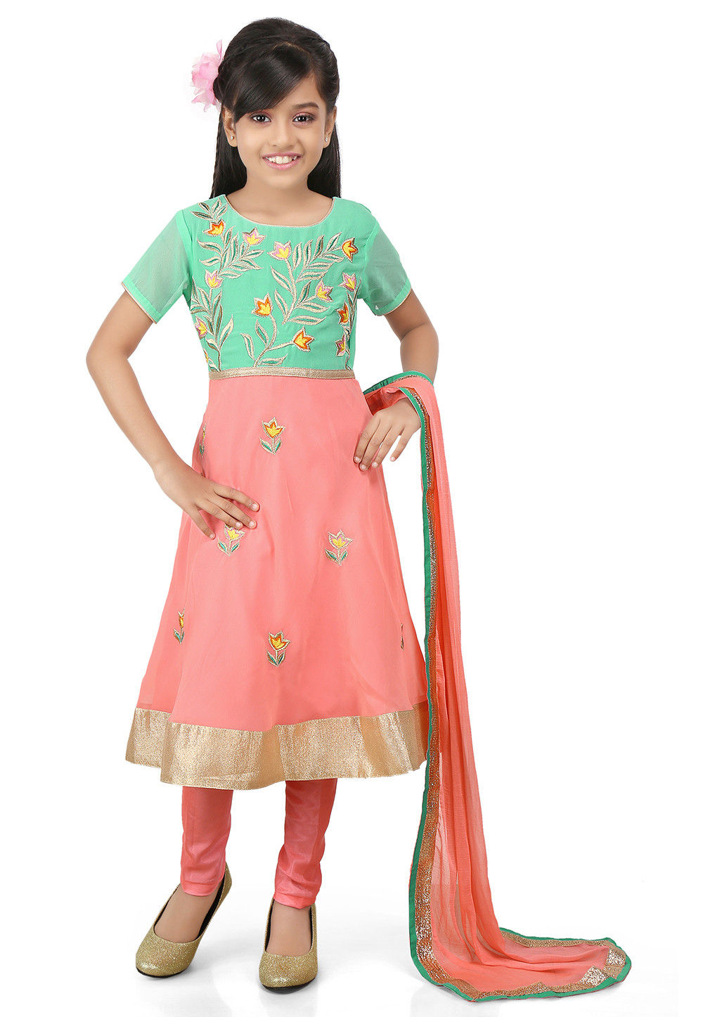 Embroidered Georgette A Line Suit in Green and Peach