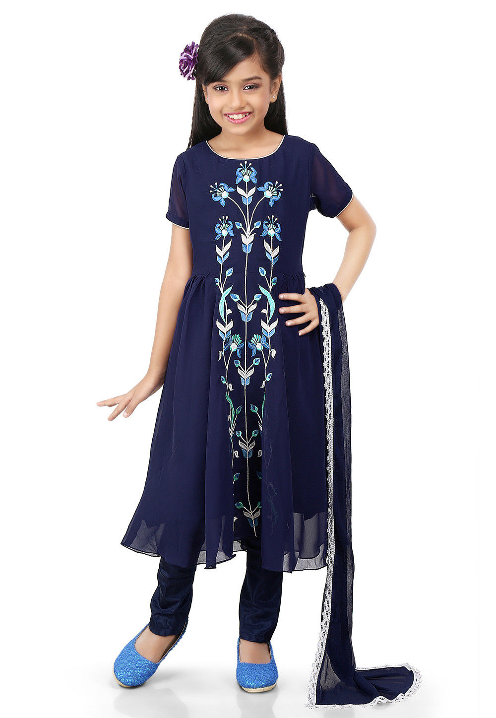 Embroidered Georgette Flared Suit in Navy Blue