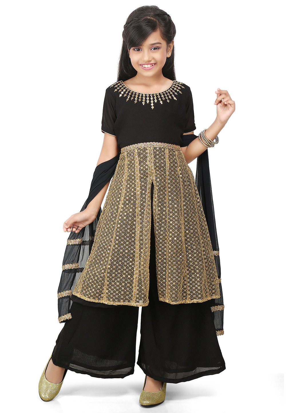Embroidered Georgette Pakistani Suit in Black and Beige