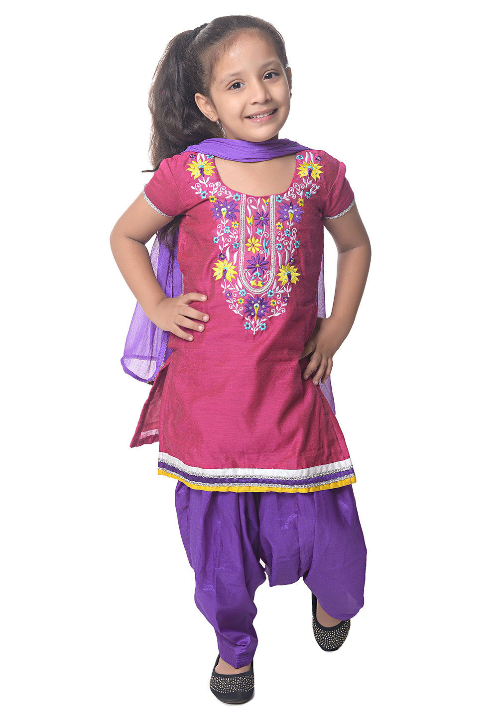 Embroidered Chanderi Silk Punjabi Suit in Pink