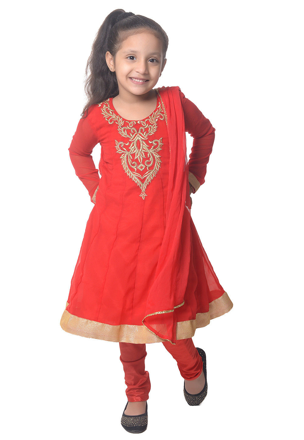Embroidered Red Georgette Anarkali Suit