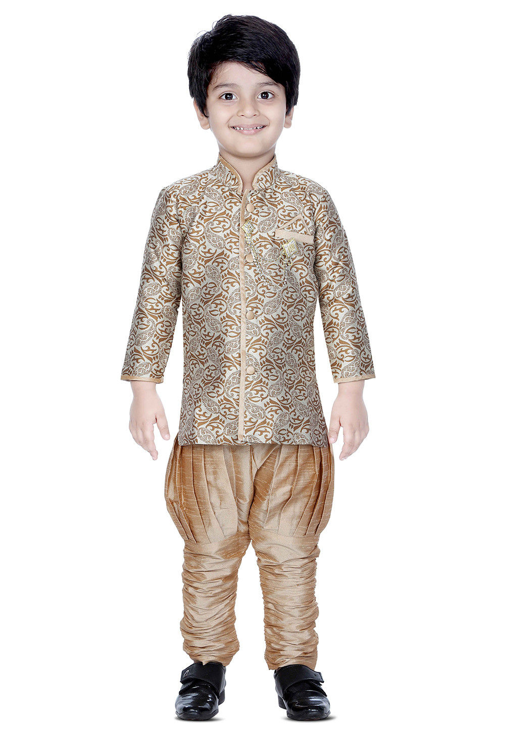 Brocade Silk Sherwani Set in Off White