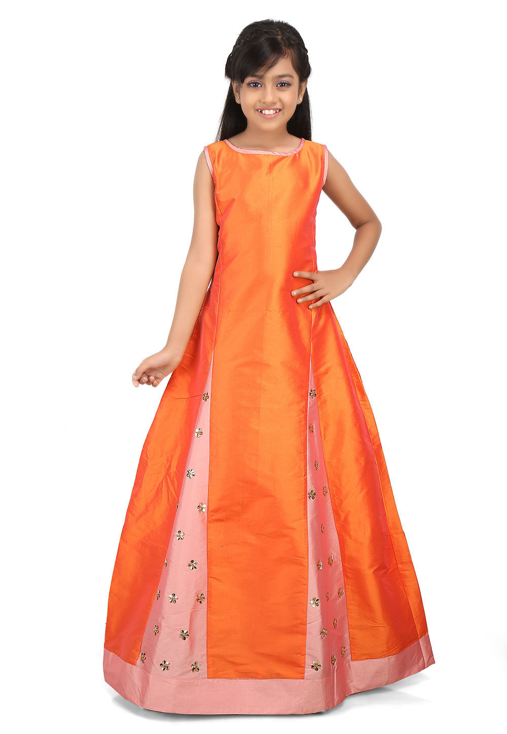 Embroidered Cotton Silk Godet Gown in Orange and Peach