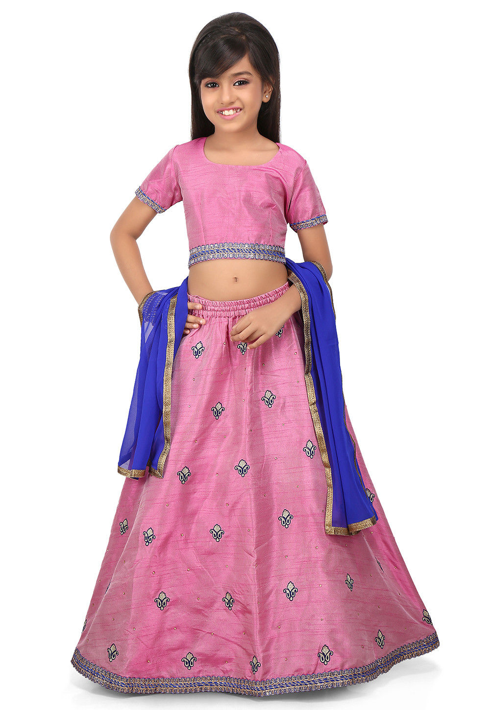 Embroidered Art Dupion Silk Lehenga in Light Pink