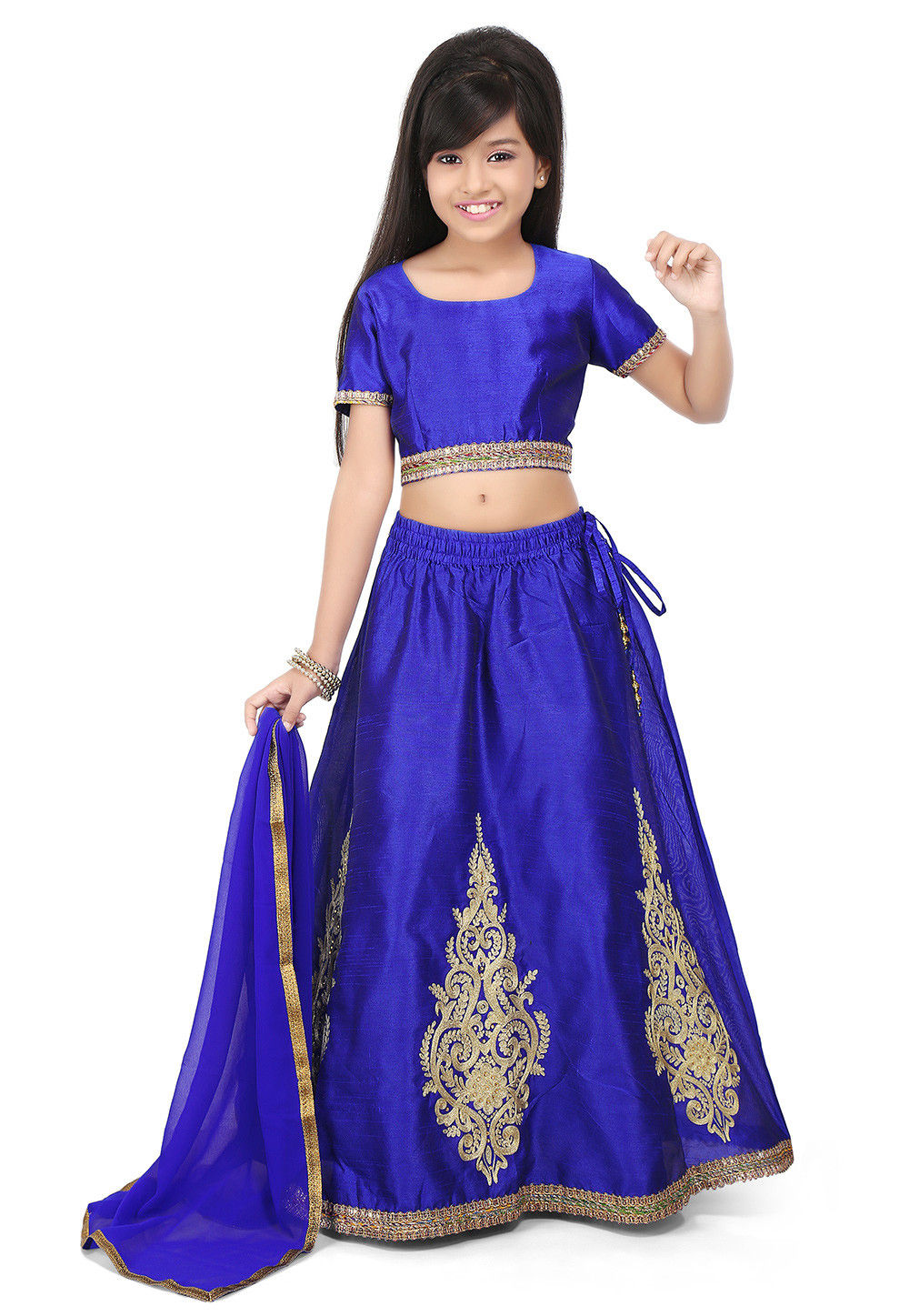 Embroidered Art Dupion Silk Lehenga in Royal Blue