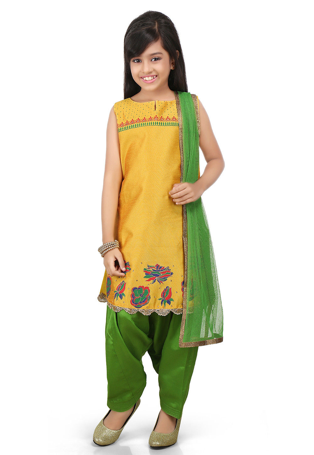 Printed Art Dupion Silk Straight Suit in Yellow