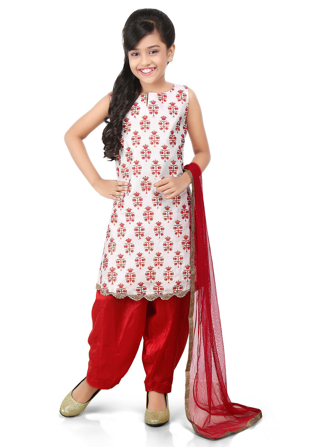 Block Printed Art Dupion Silk Straight Suit in White