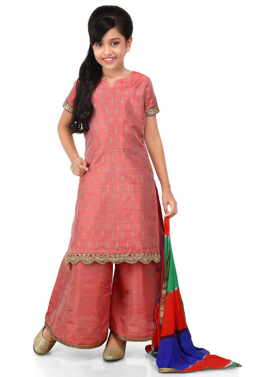 Block Printed Art Dupion Silk Straight Suit in Old Rose