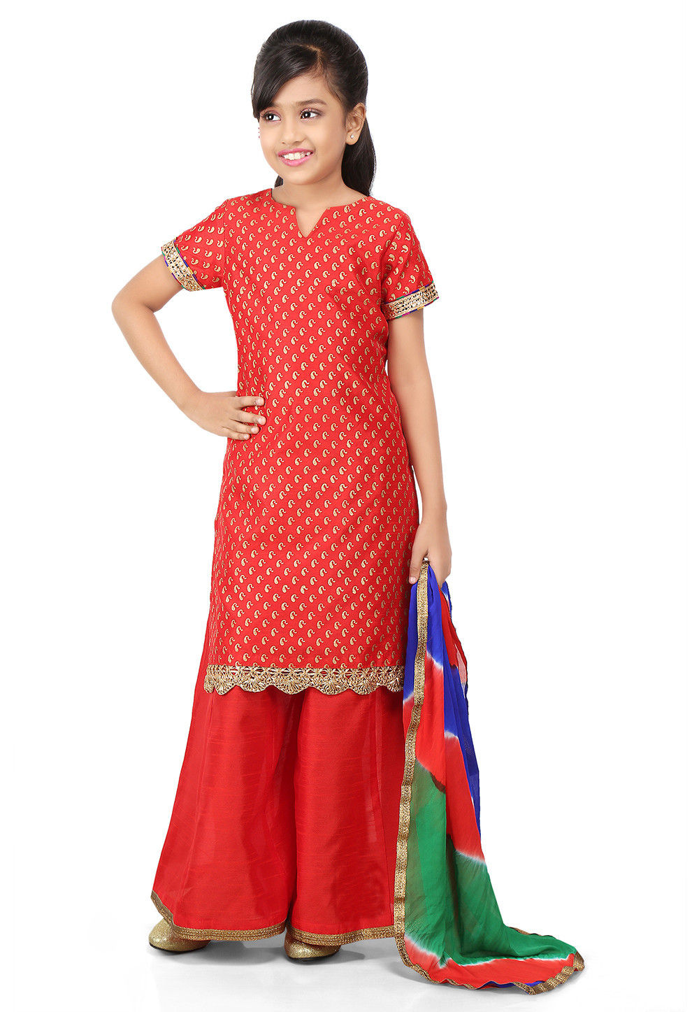 Block Printed Art Dupion Silk Straight Suit in Red