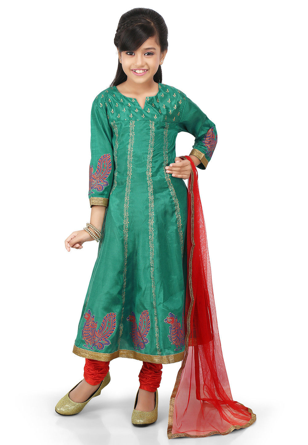 Block Printed Shantoon Anarkali Suit in Teal Green