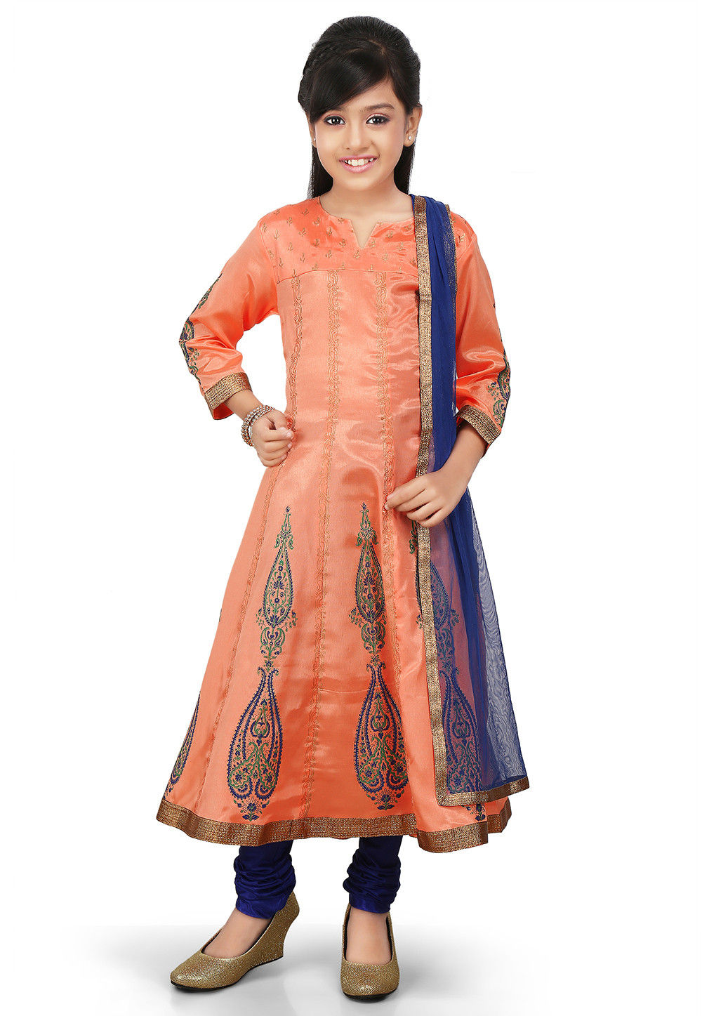 Block Printed Shantoon Anarkali Suit in Peach