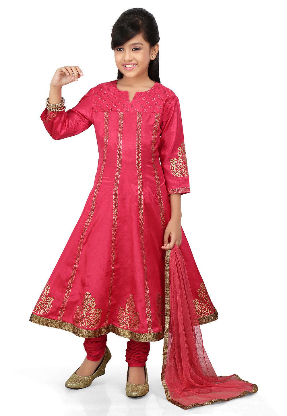 Block Printed Shantoon Anarkali Suit in Fuchsia