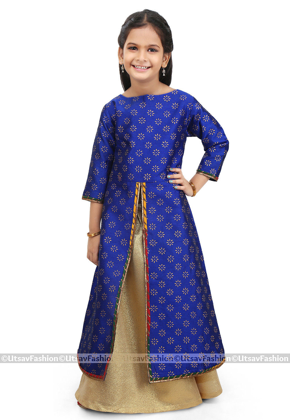 Block Printed Dupion Silk Jacket Style Lehenga in Royal Blue