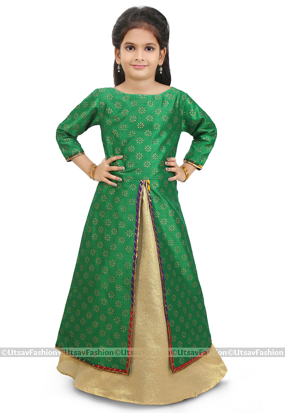 Block Printed Dupion Silk Jacket Style Lehenga in Green
