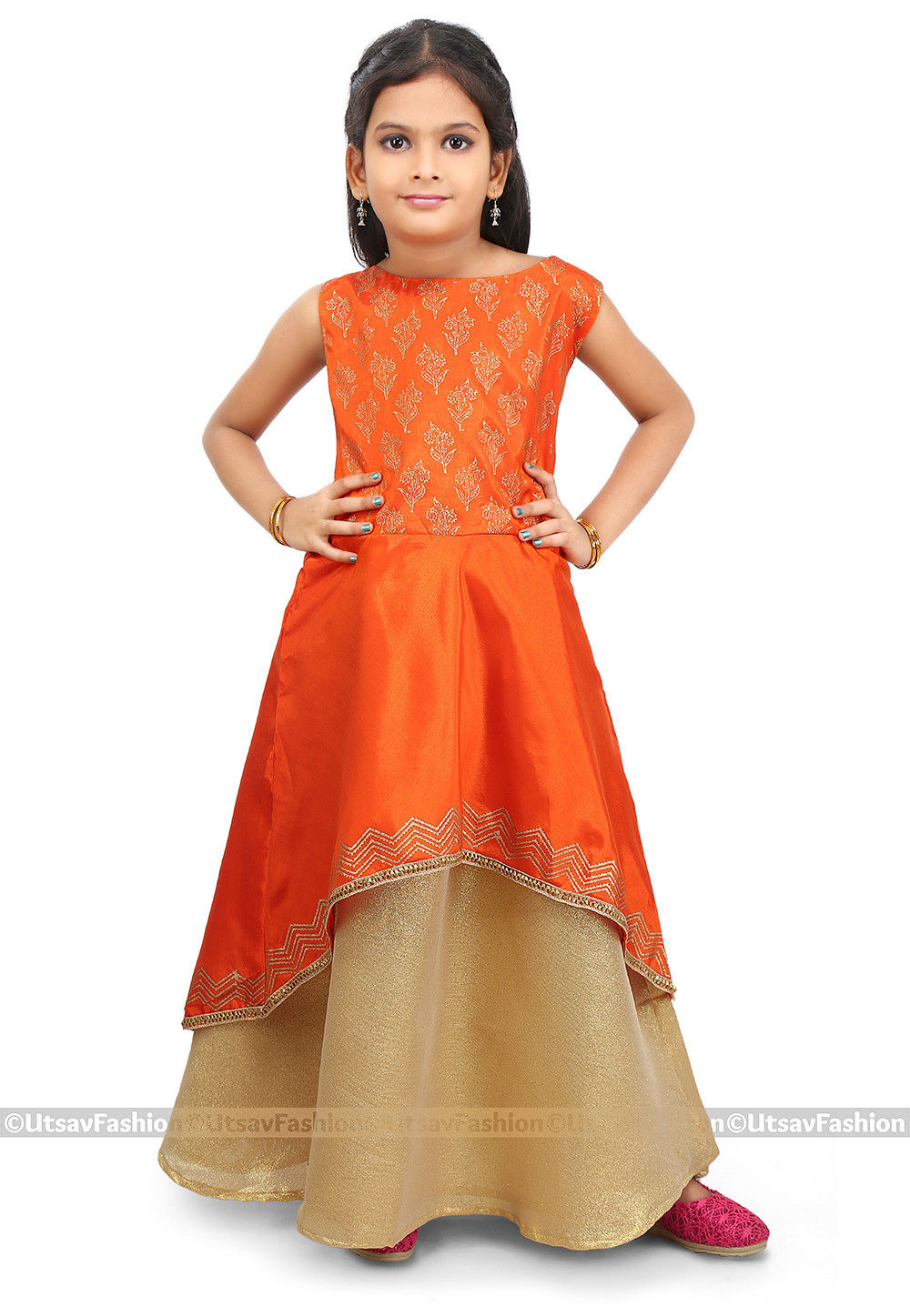 Block Printed Art Silk Jacket Style Lehenga in Orange
