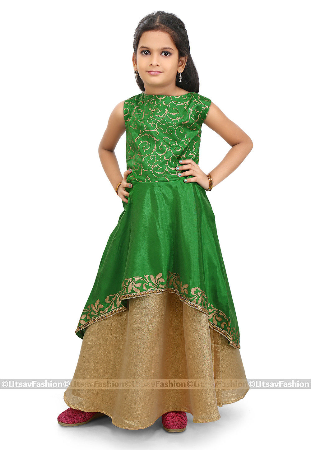 Block Printed Art Silk Jacket Style Lehenga in Green