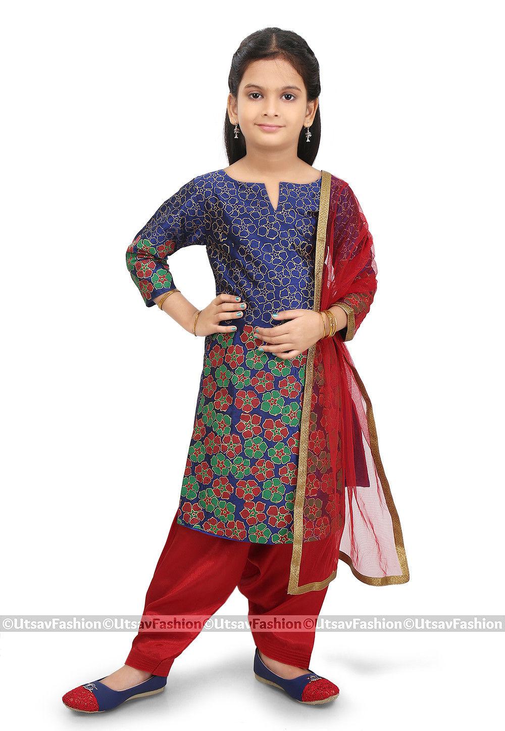 Block Printed Art Silk Punjabi Suit in Dark Blue