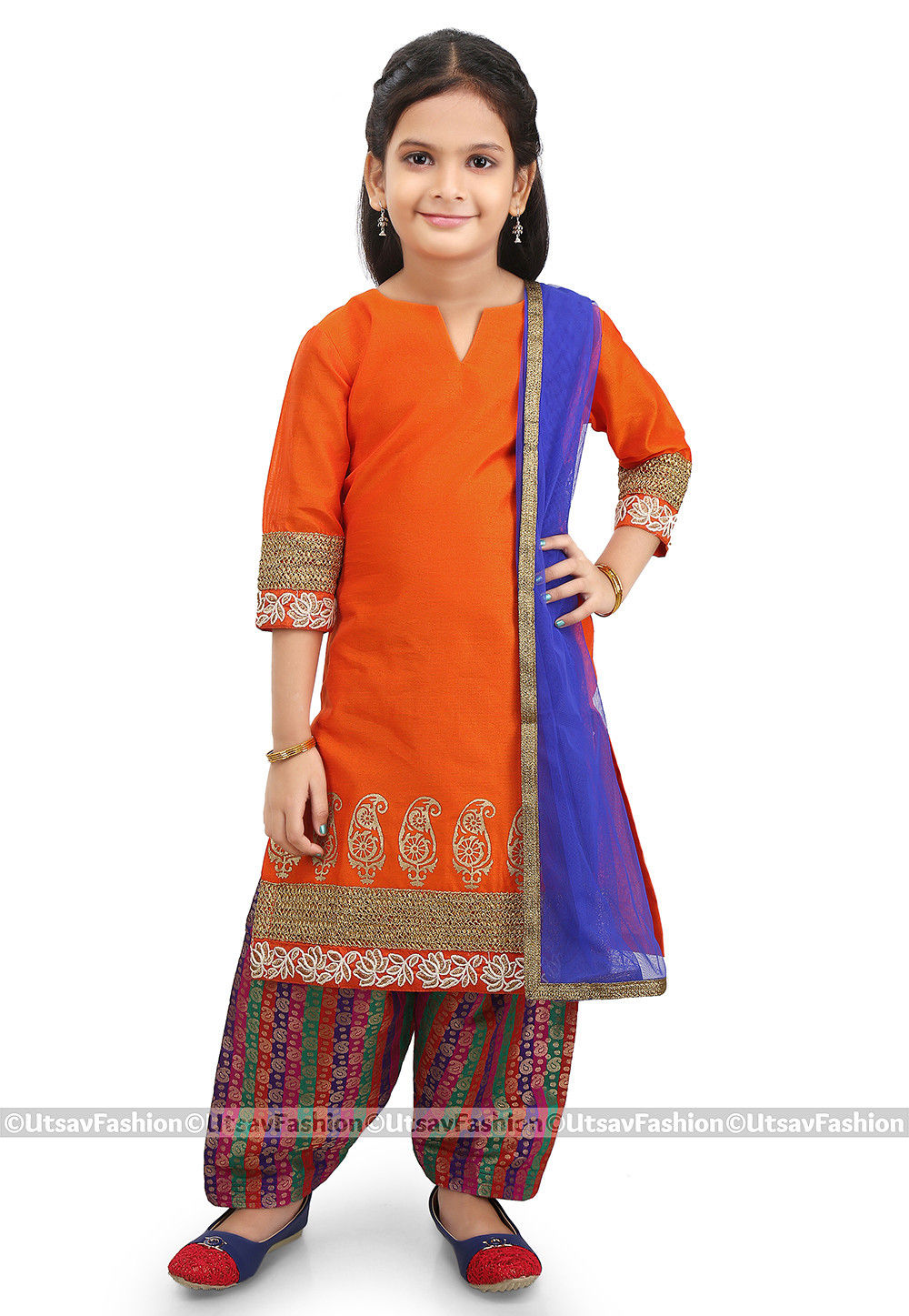 Block Printed Dupion Silk Punjabi Suit in Orange