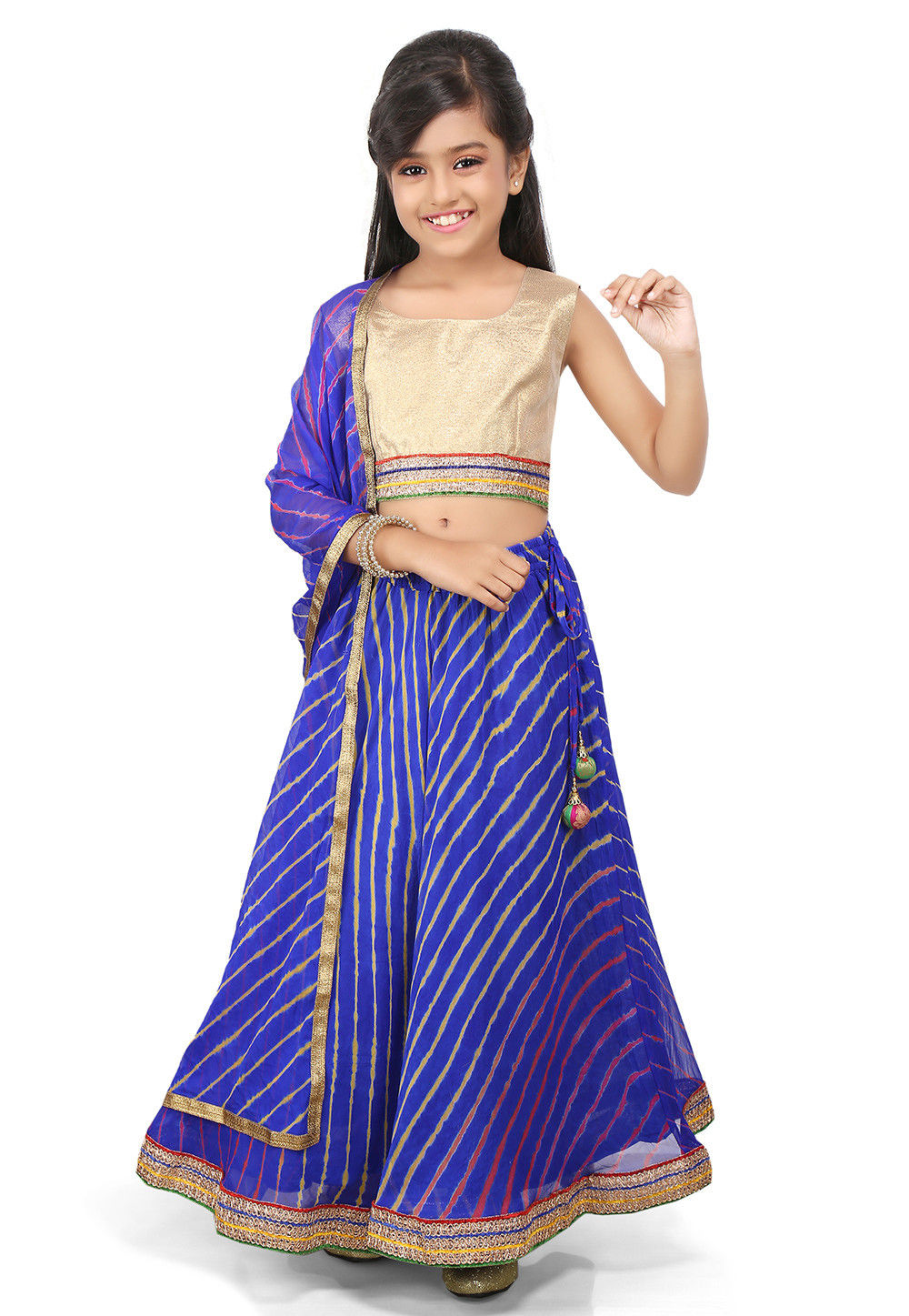 Lehariya Georgette A Line Lehenga in Royal Blue