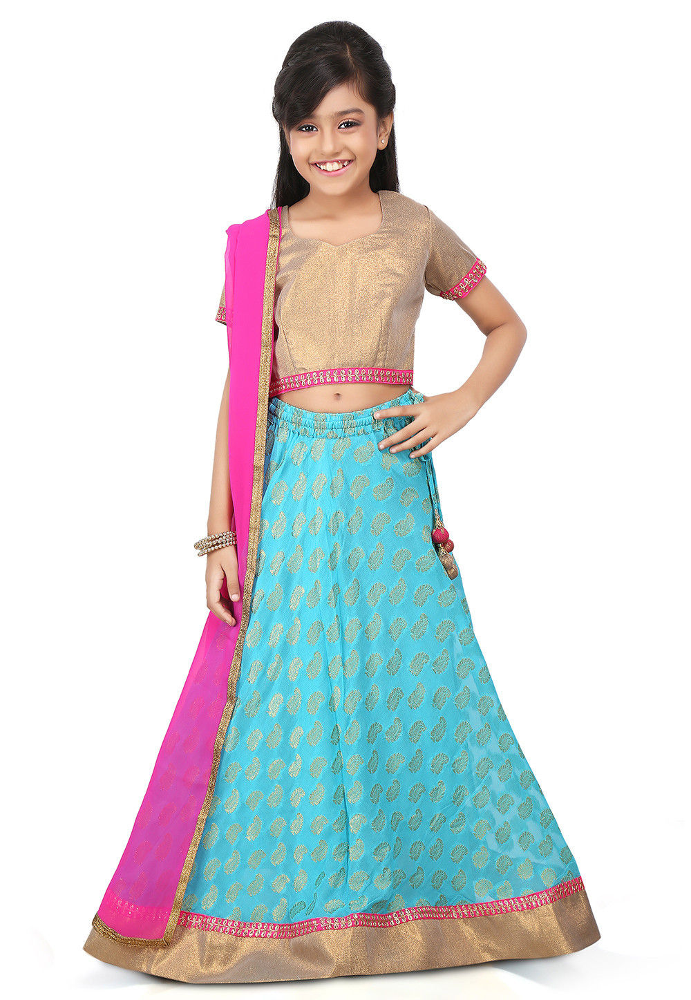 Jacquard Georgette A Line Lehenga in Teal Blue