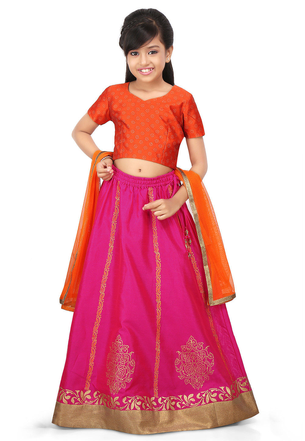 Block Printed Art Dupion Silk Lehenga in Fuchsia