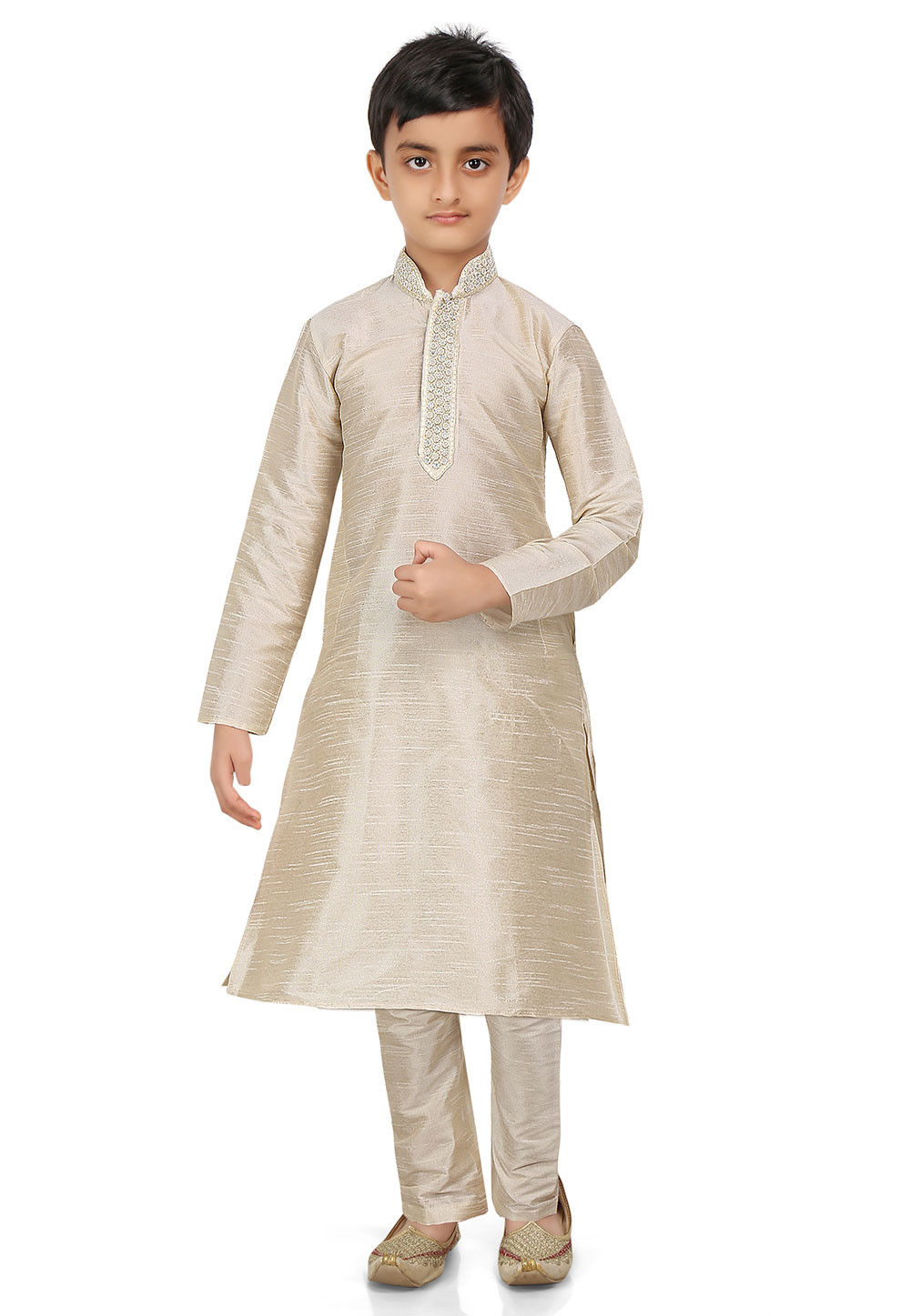 Plain Art Dupion Silk Kurta Set in Light Beige