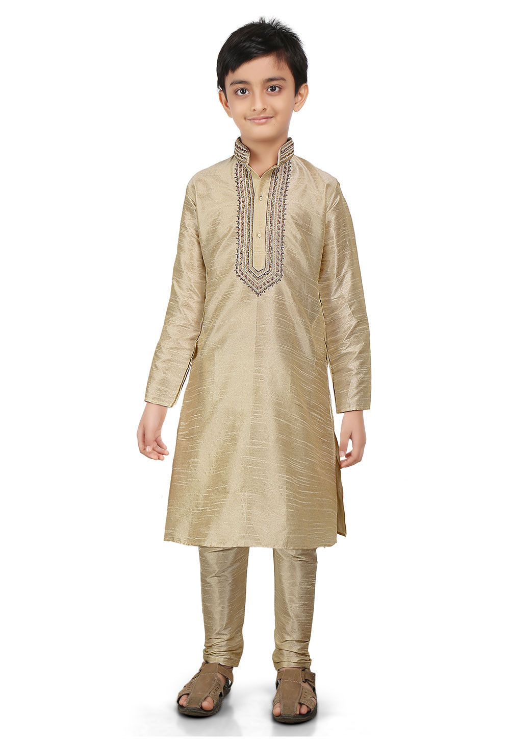 Plain Art Dupion Silk Kurta Set in Beige