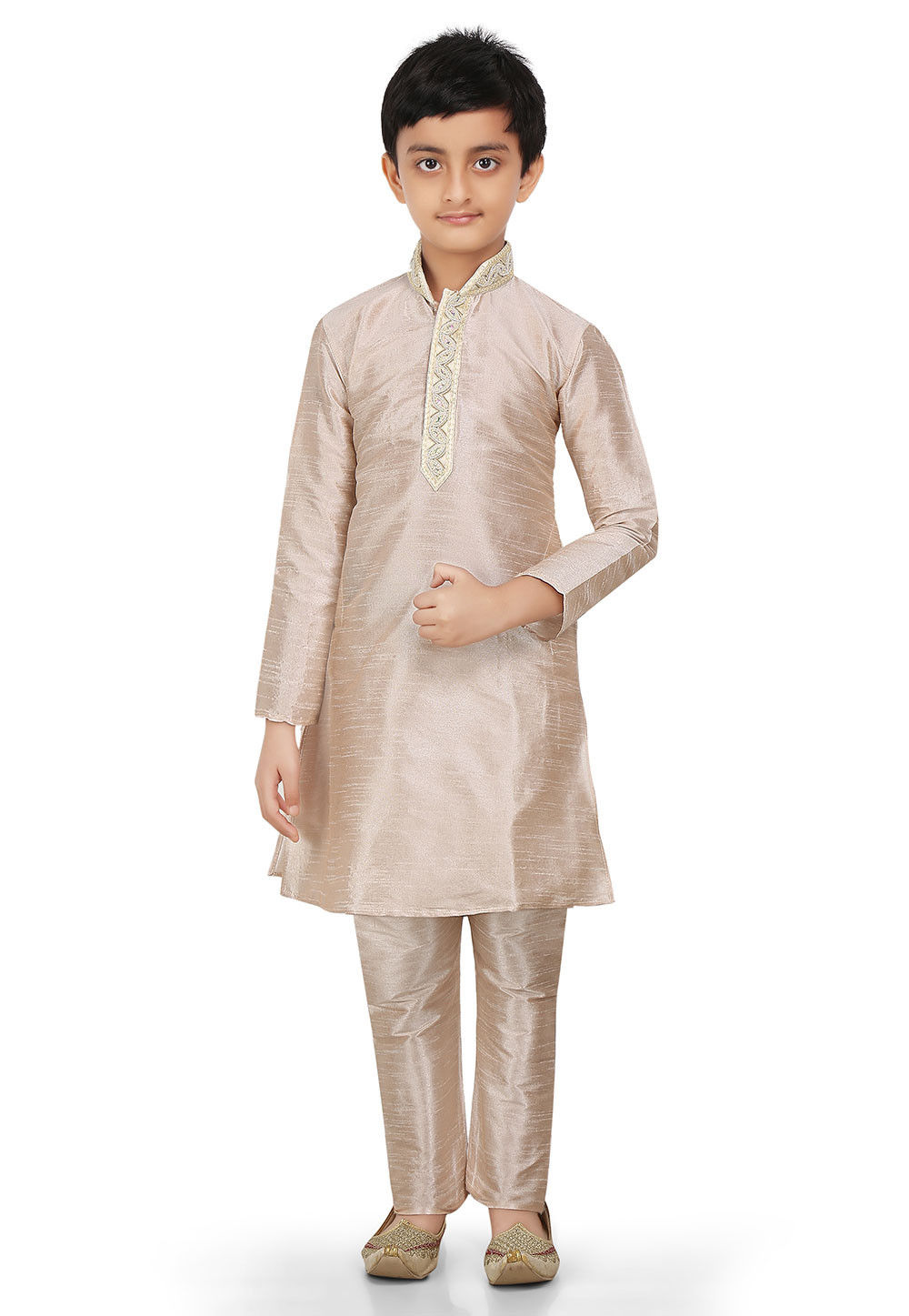 Plain Art Dupion Silk Kurta Set in Rose Gold