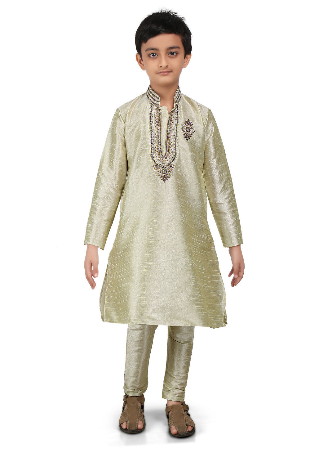 Embroidered Art Dupion Silk Kurta Set in Light Green