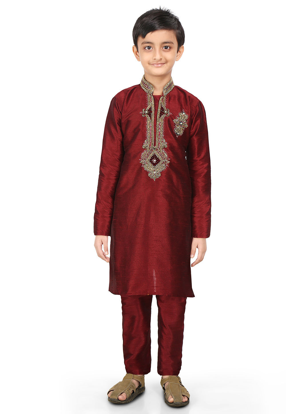 Embroidered Art Dupion Silk Kurta Set in Maroon