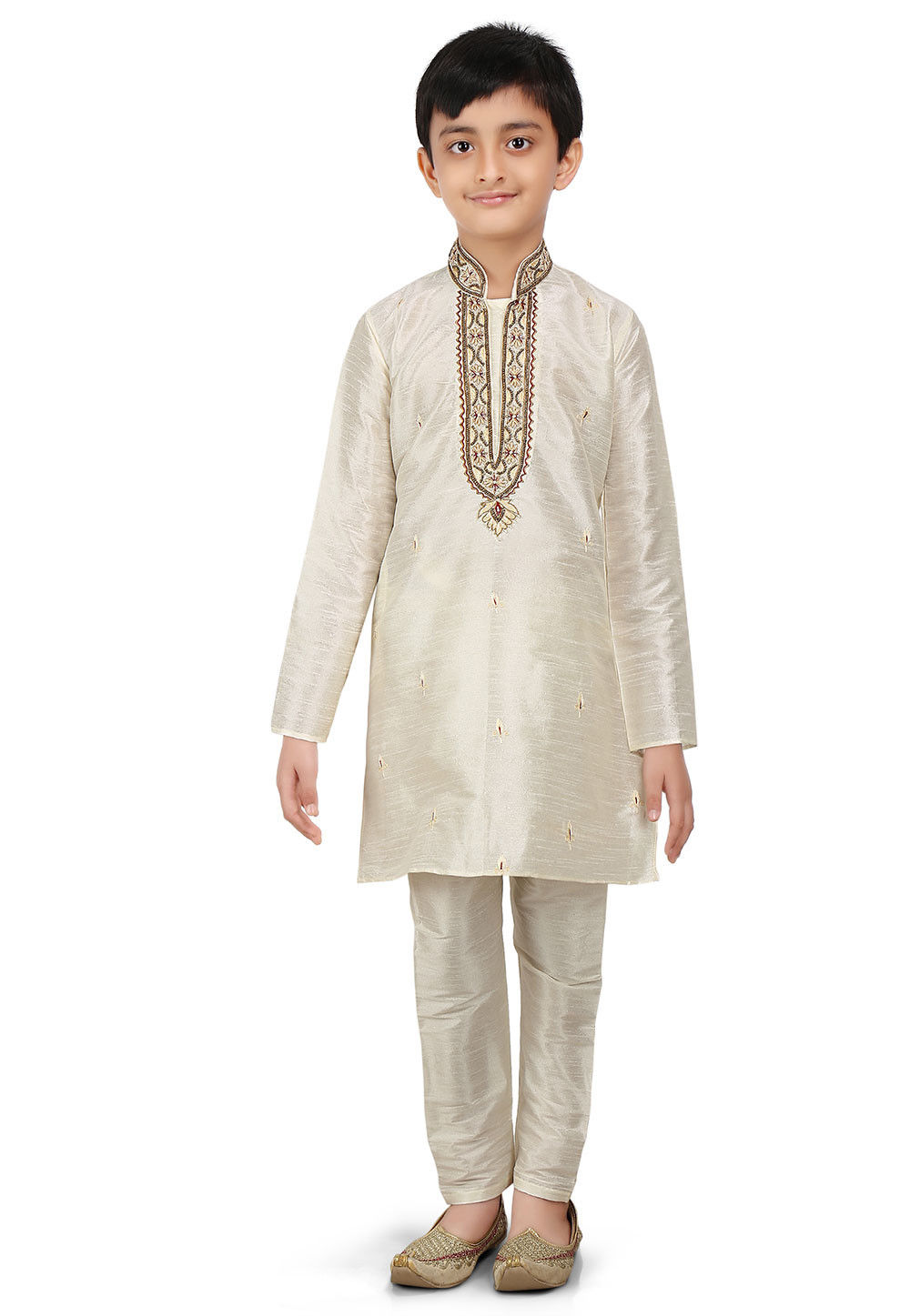 Embroidered Art Dupion Silk Kurta Set in Light Beige