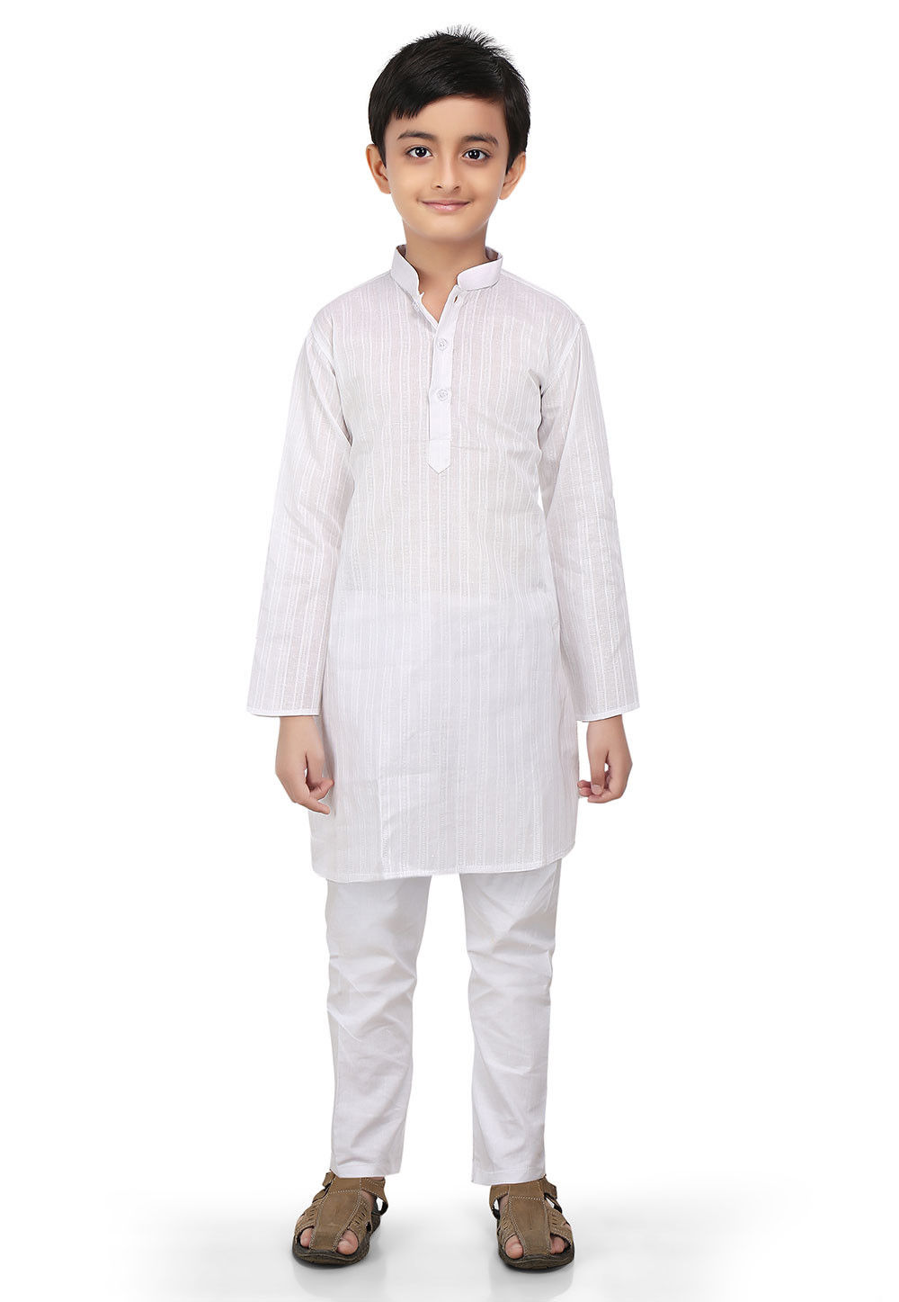 Woven Cotton Jacquard Kurta Set in White