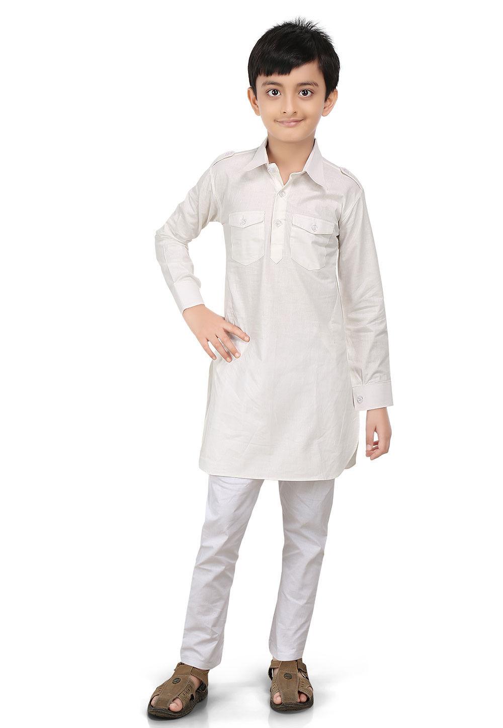 Plain Cotton Pathani Kurta Set in Off White
