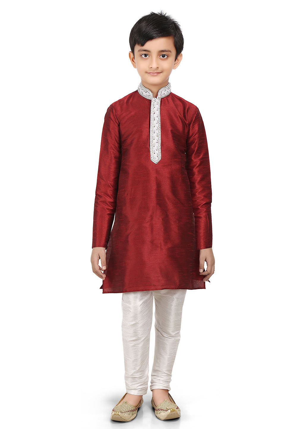 Plain Art Dupion Silk Kurta Set in Maroon