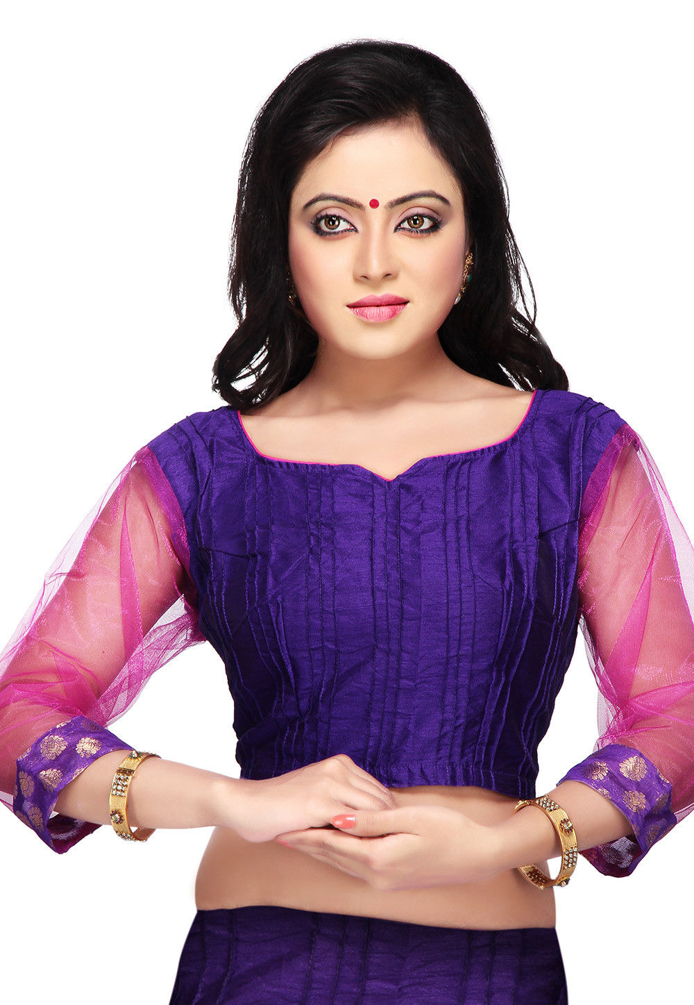 Art Dupion and Chanderi Silk Brocade Blouse in Purple