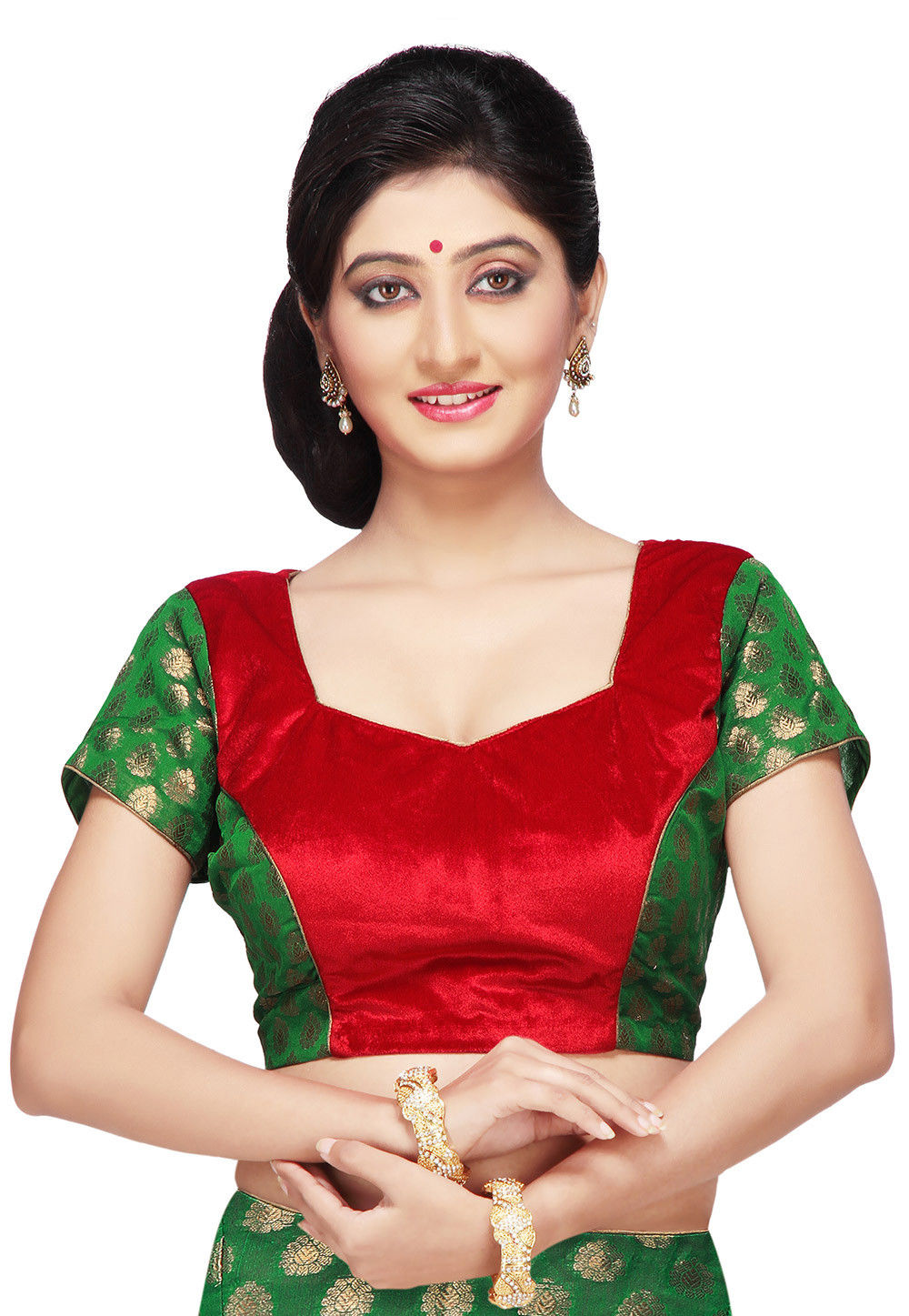 Velvet and Chanderi Silk Brocade Blouse in Green and Red