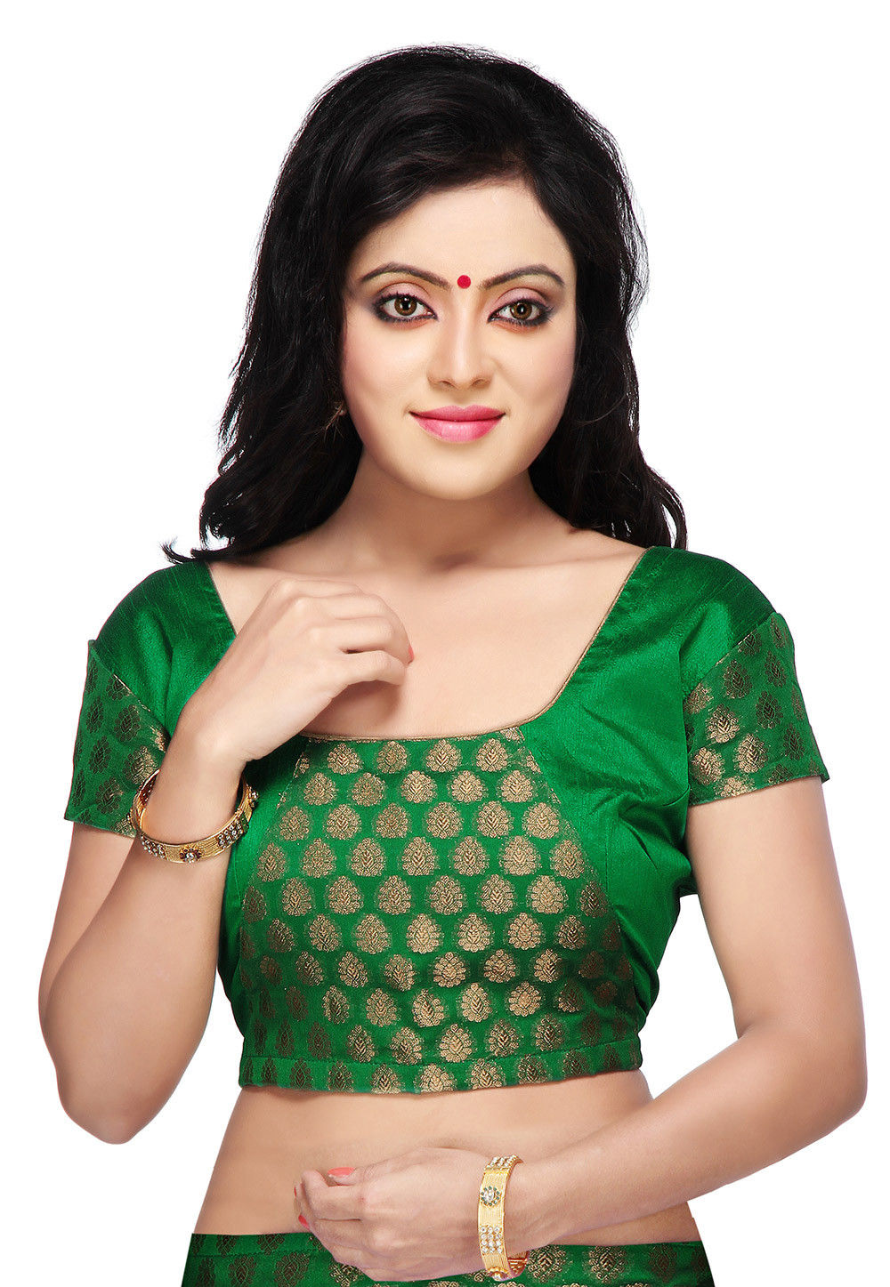 b97393b88fa1d Chanderi Silk Brocade Blouse in Green   UJN402